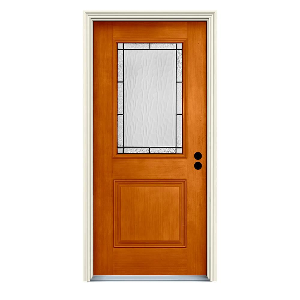 Jeld Wen 36 In X 80 In Left Hand 1 2 Lite Wendover Saffron Stained Fiberglass Prehung Front Door With Brickmould Thdjw197500225 Decorative Hinges Wood Doors How To Antique Wood