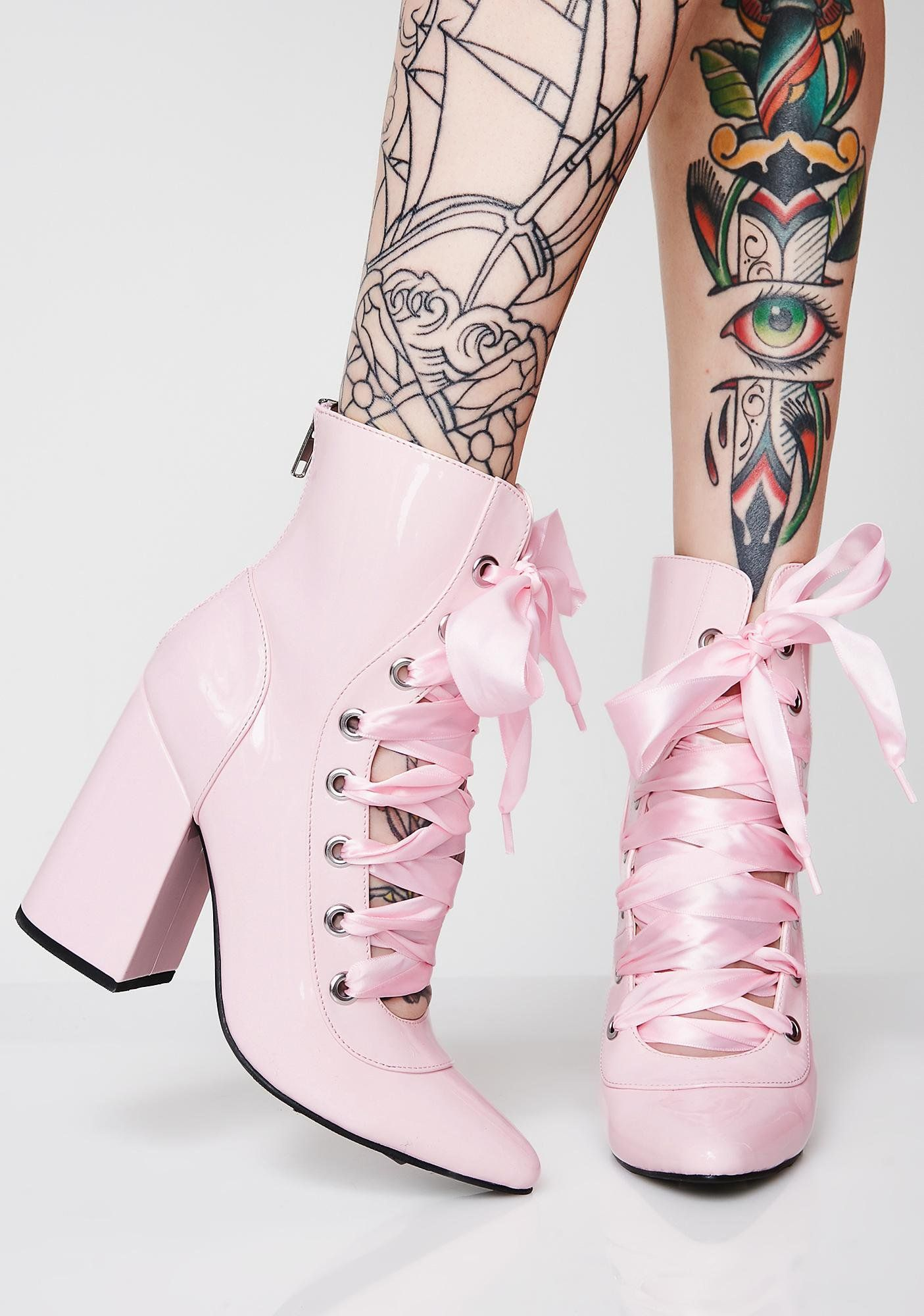 2dcf7aa61f9e72 Sugar Thrillz Pirouette On Em  Lace-Up Booties cuz you just doin  ya thang