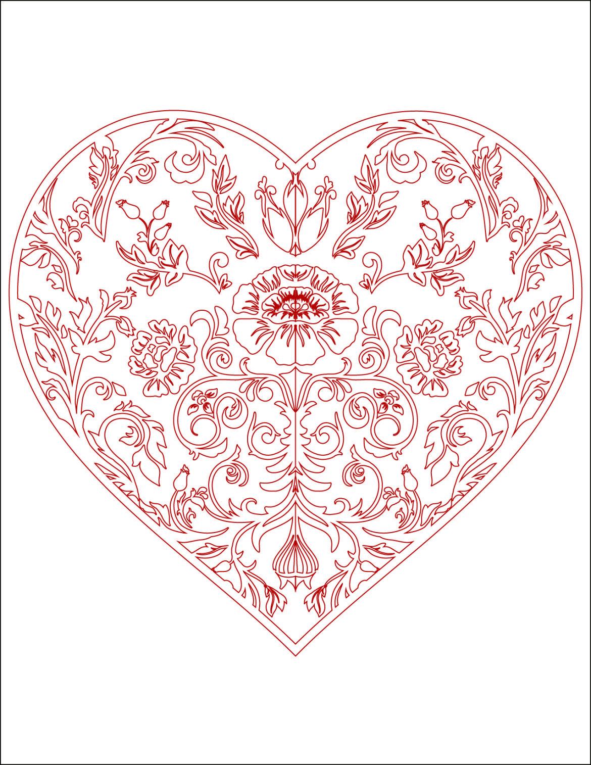 Image de bonjour d amour coloriage coeur  imprimer