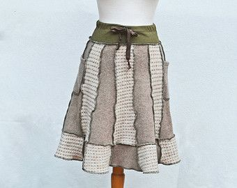 Sweater Skirt Women's Warm Wool Pixie Fall Patchwork Pockets Upcycled Clothing Eco Brown Tan Green Woodland Oatmeal Elf S/M Ready to Ship