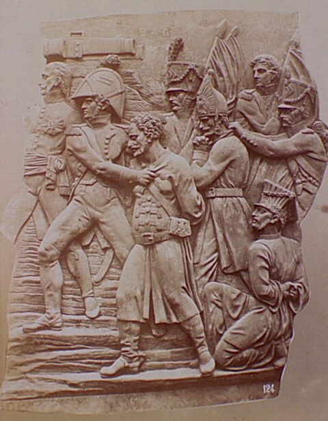 Detail of relief sculpture on Arch of Triumph., Siege of Paris ...
