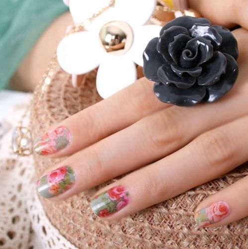 Natural rose G nail sticker,16 patchs, color nailpatch