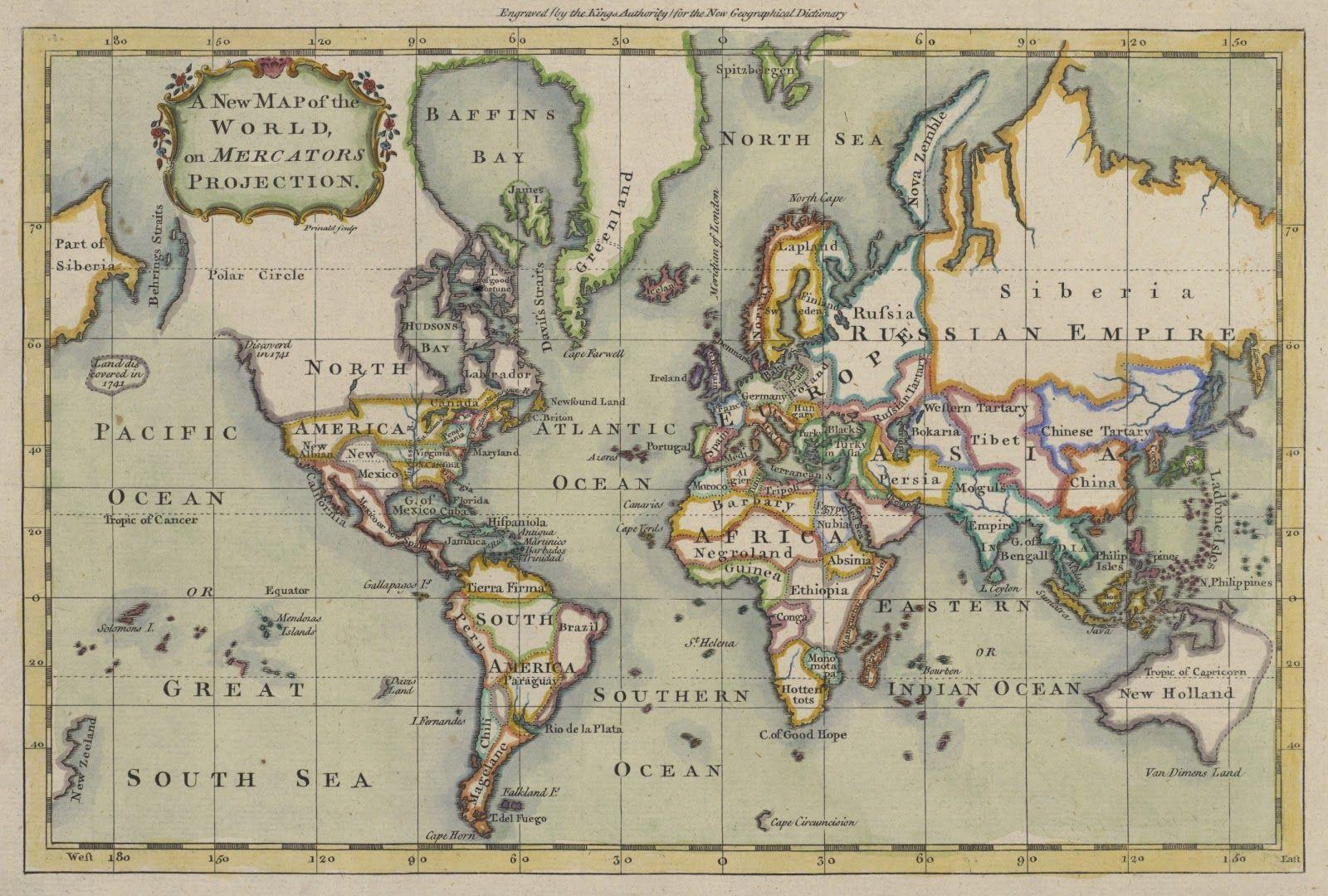 Mapamundi Grabado Por El Cartografo Ingles Prinald