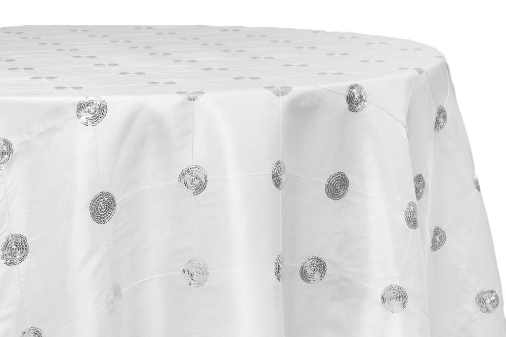 Sequin Embroidery Taffeta 120 Round Tablecloth White Round Linen Tablecloths Sequins Embroidery Round Tablecloth