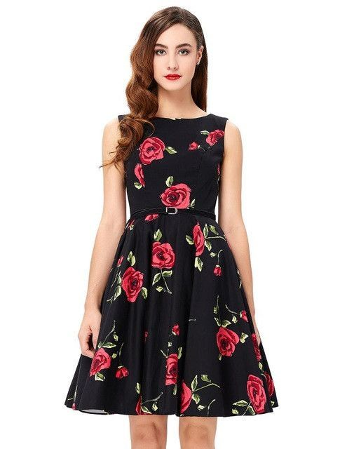 Gender  Women Dresses Length  Knee-Length Silhouette  A-Line Brand Name   Belle Poque Pattern Type  Dot Season  Summer Style  Vintage Material   Polyester ... 6fe3749c42bb