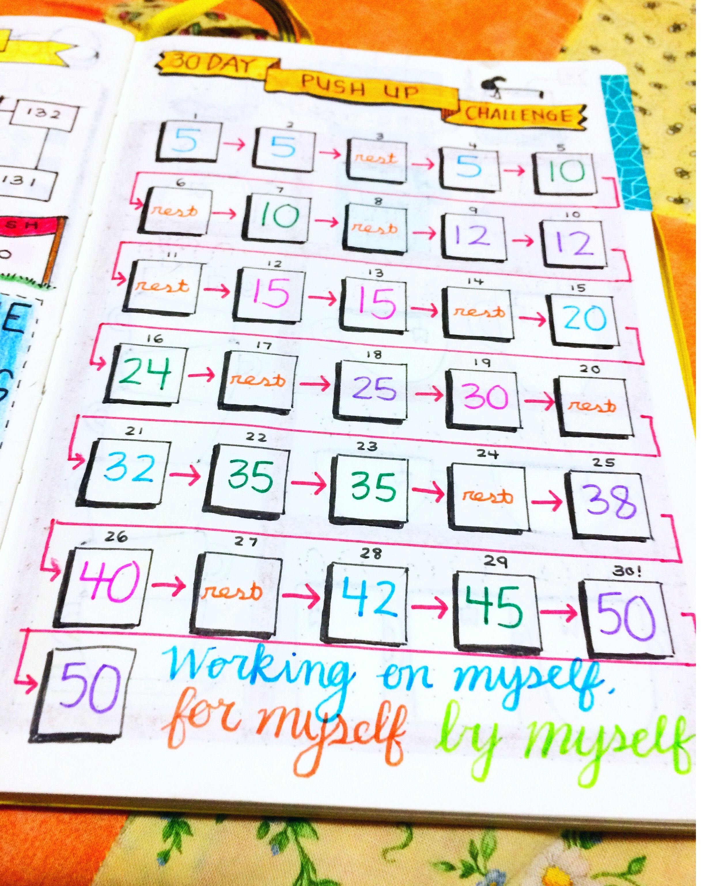 30 Day Push Up Challenge Bullet Journal Collections | Push ...