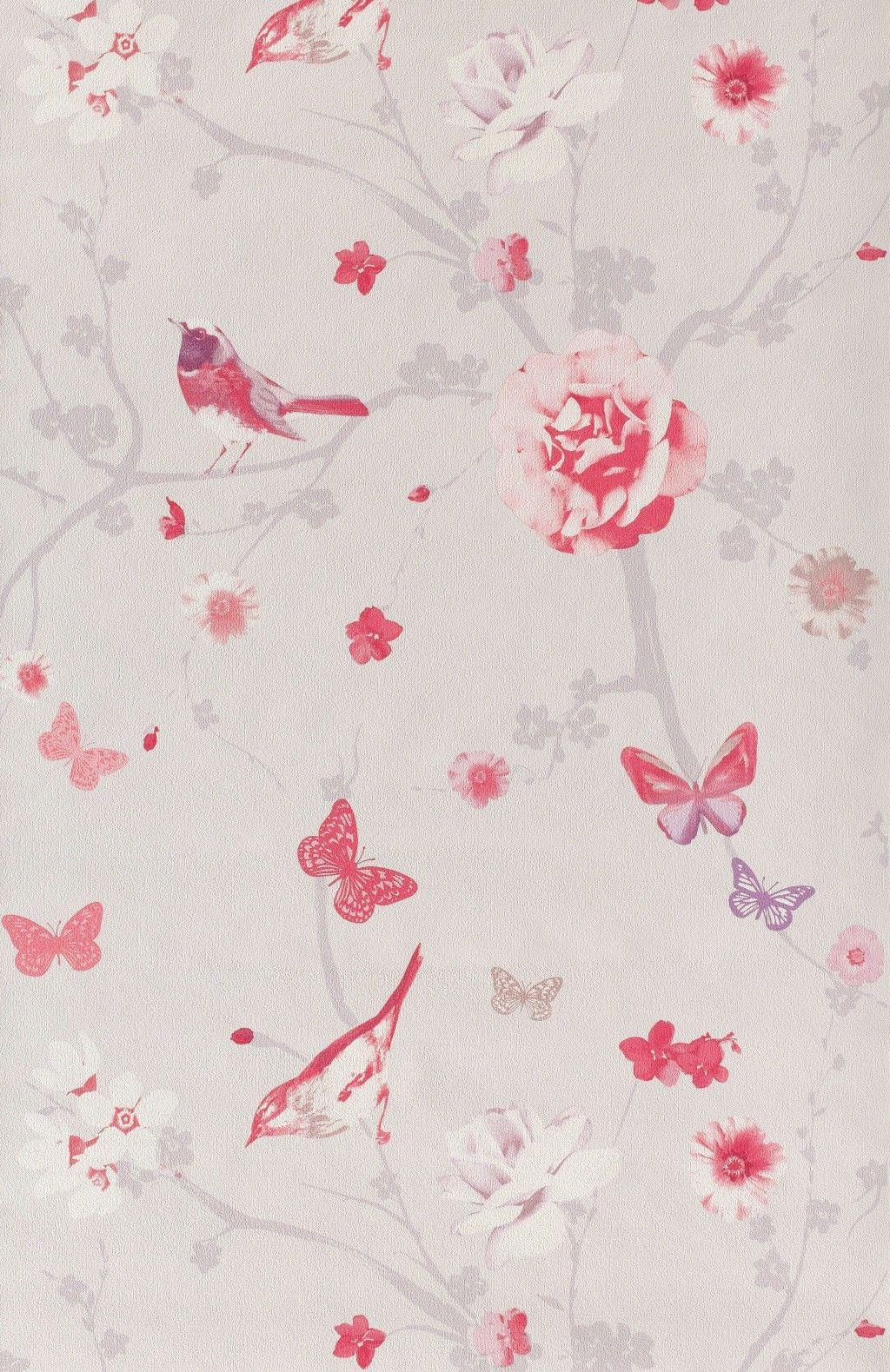 Branche oiseau rose - Papier peint Floral Dance de Lutèce | Oiseau ...