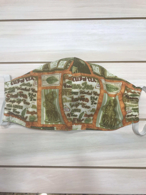 Handmade 100 Cotton Fabric Botanical Garden Tea Face Mask Double