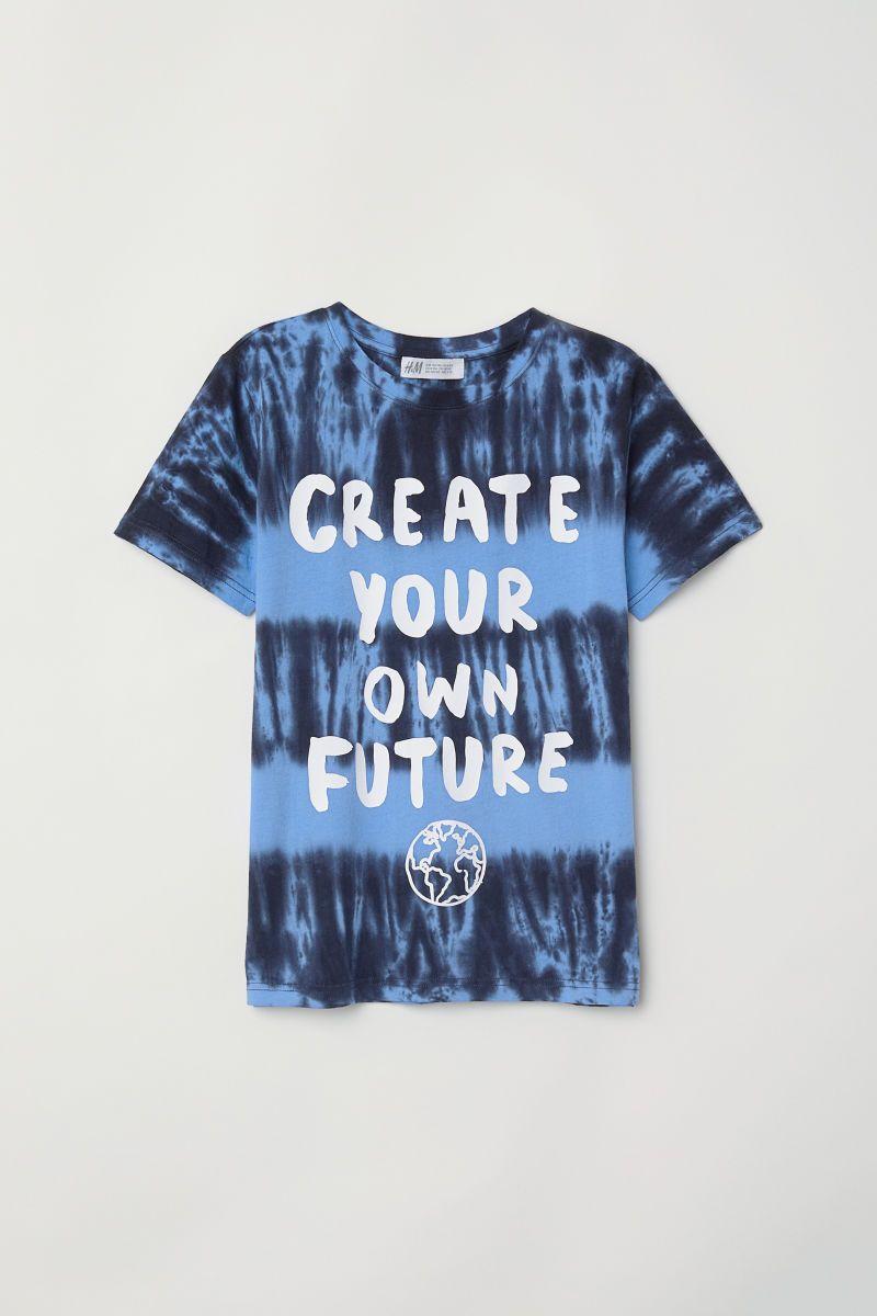 e9ad52583717 T-shirt with Printed Design   Blue/batik patterned   KIDS   H&M US ...