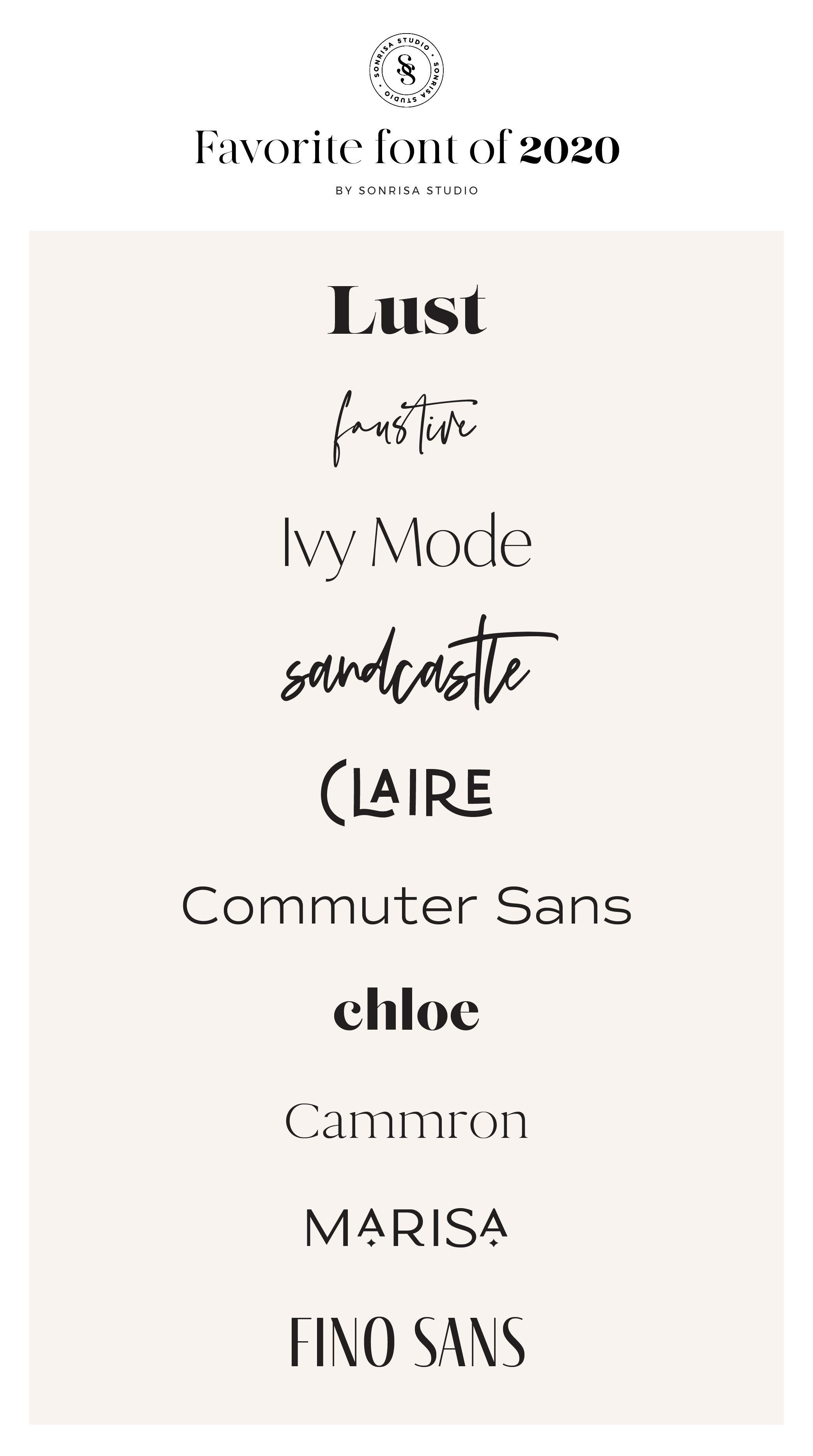 Favorite Fonts Of 2020 Sonrisastudio Com Favorite Fonts Instagram Inspiration Posts Business Branding Design