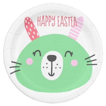 Happy easter cute green bunny paper plates kitchen gifts diy happy easter cute green bunny paper plates kitchen gifts diy ideas decor special unique negle Images