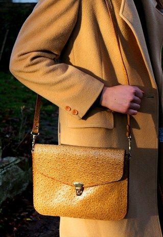 1970s vintage camel textured real leather satchel bag