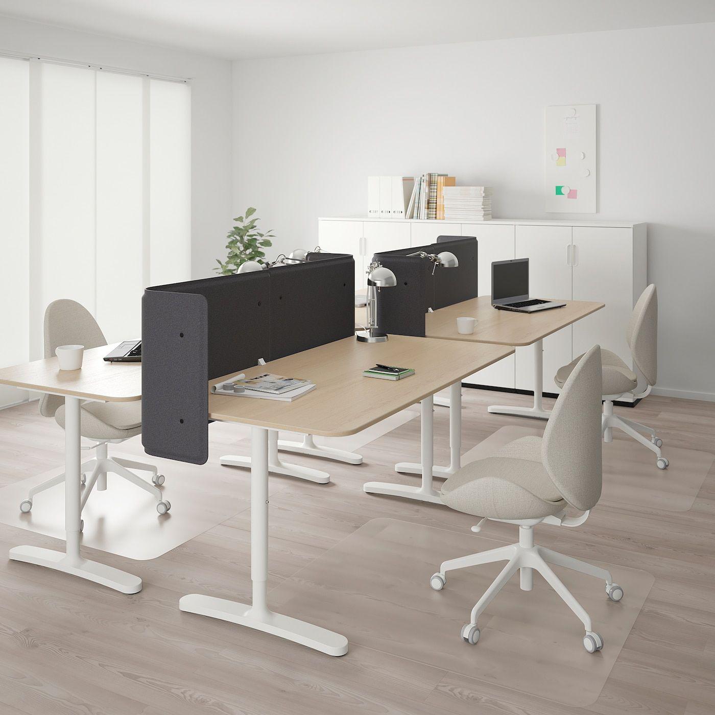 Bekant Desk With Screen White Stained Oak Veneer White Ikea In 2020 Black Office Furniture Office Furniture Design Ikea Bekant Desk