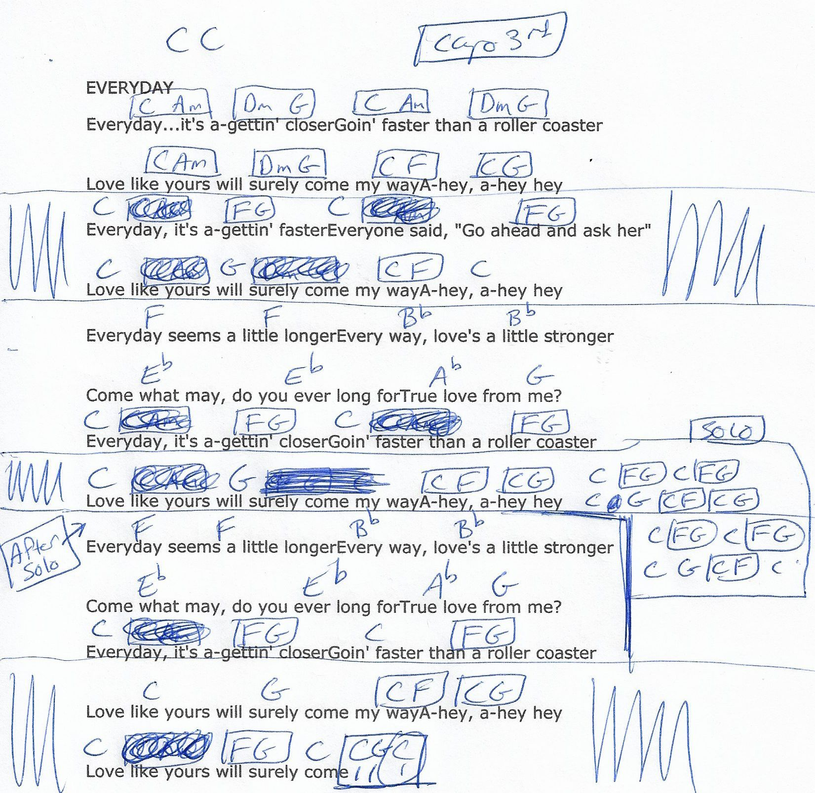 Everyday Buddy Holly Guitar Chord Chart In C Capo 3rd Guitar