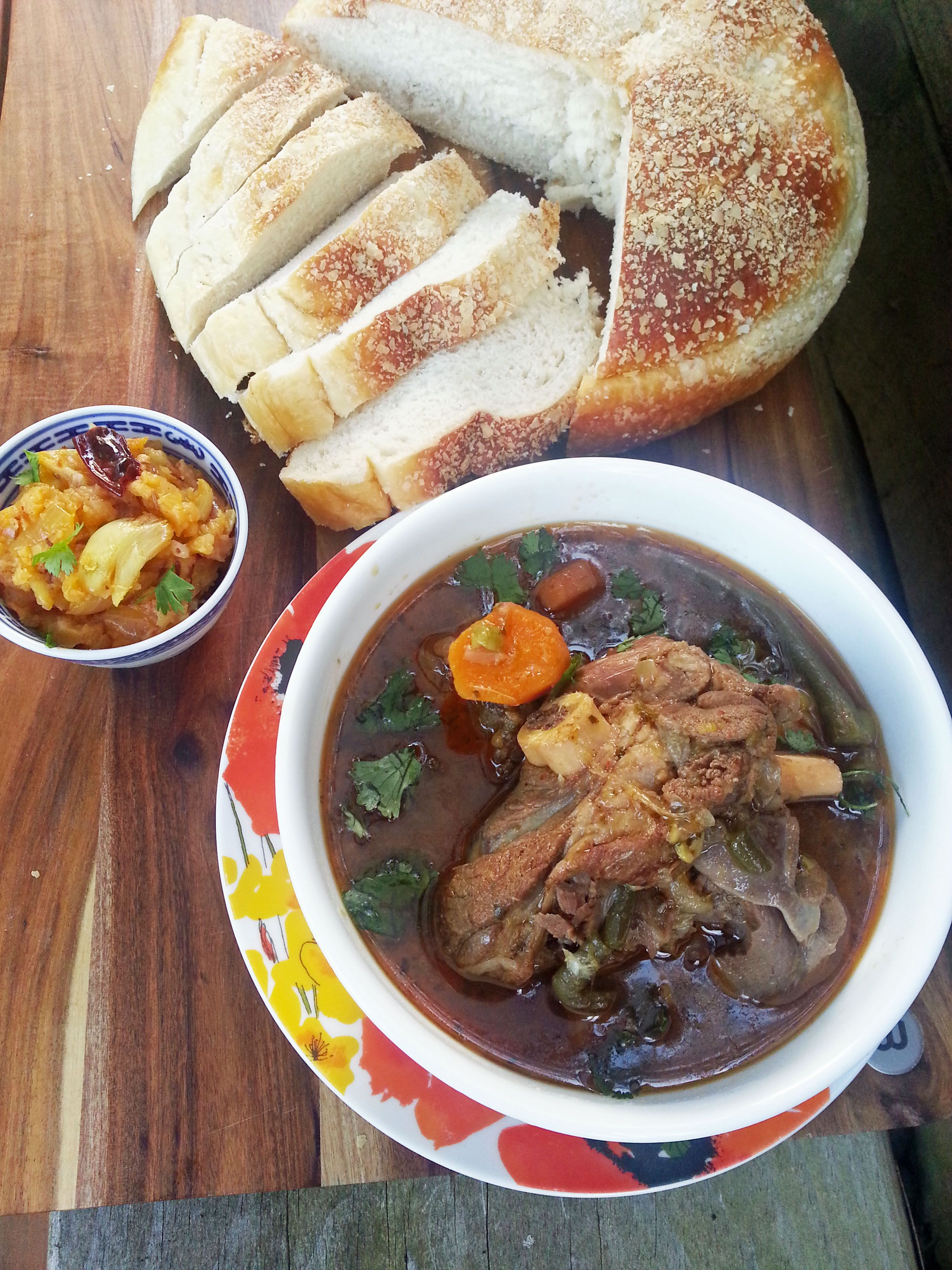 Moroccan Lamb Stew Served With Rewana Bread And Roast Garlic Potato Mash Food From My Kitchen