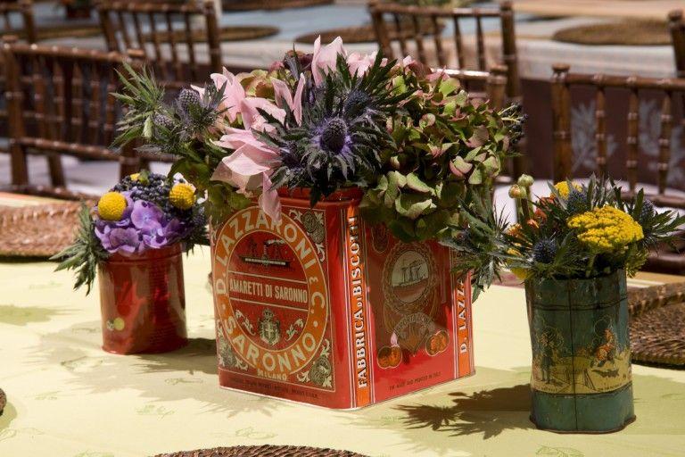 TableArt; Arrangement in vintage containers (photographer: John Armich}