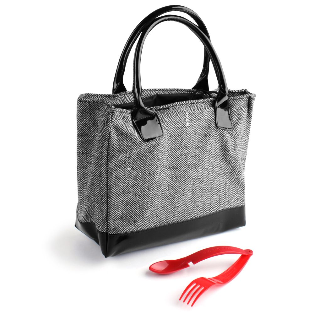 Koko Kate Black White Tweed Insulated Lunch Bah