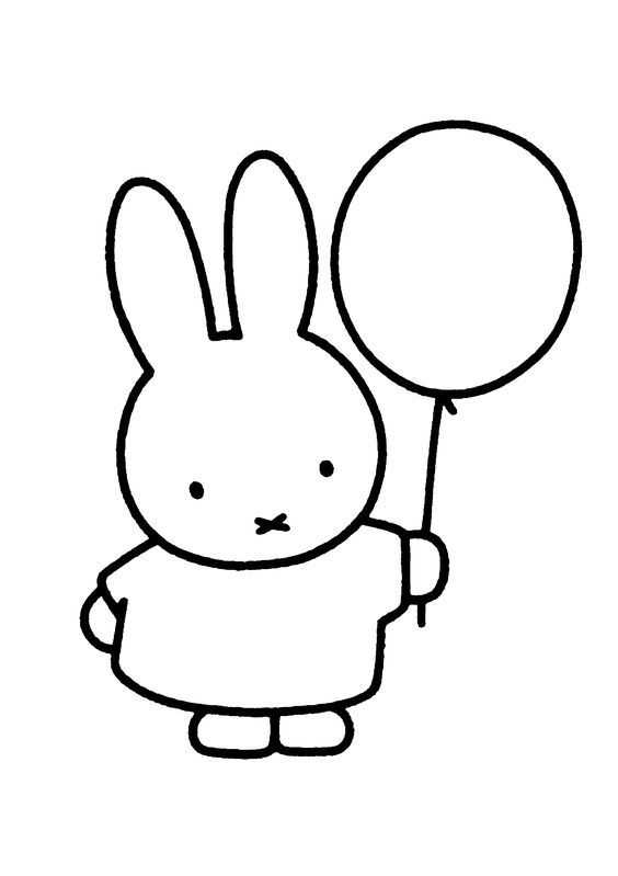 Kleurplaten Uitprinten Nijntje.Miffy Holding The Balloons Ballon Kleurplaten En Ballonnen