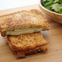 Grilled Cheese with Fontina, Pear, and Walnut Spread and Mixed Green Salad