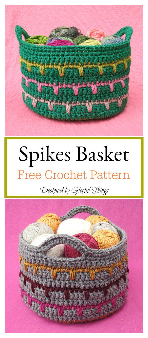 Spikes Basket Free Crochet Pattern | Tejido | Pinterest | Ganchillo ...