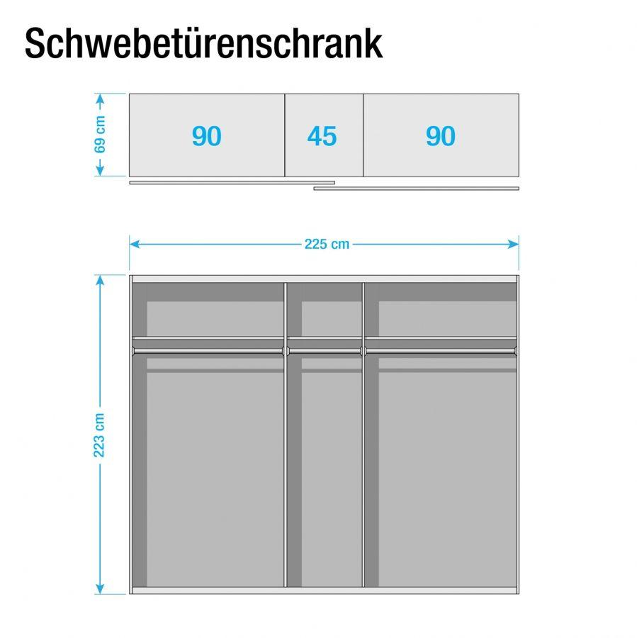 Schwebetürenschrank schwarz braun  Schwebetürenschrank Sumatra I - Schwarz / Vintage Braun - 225 cm ...