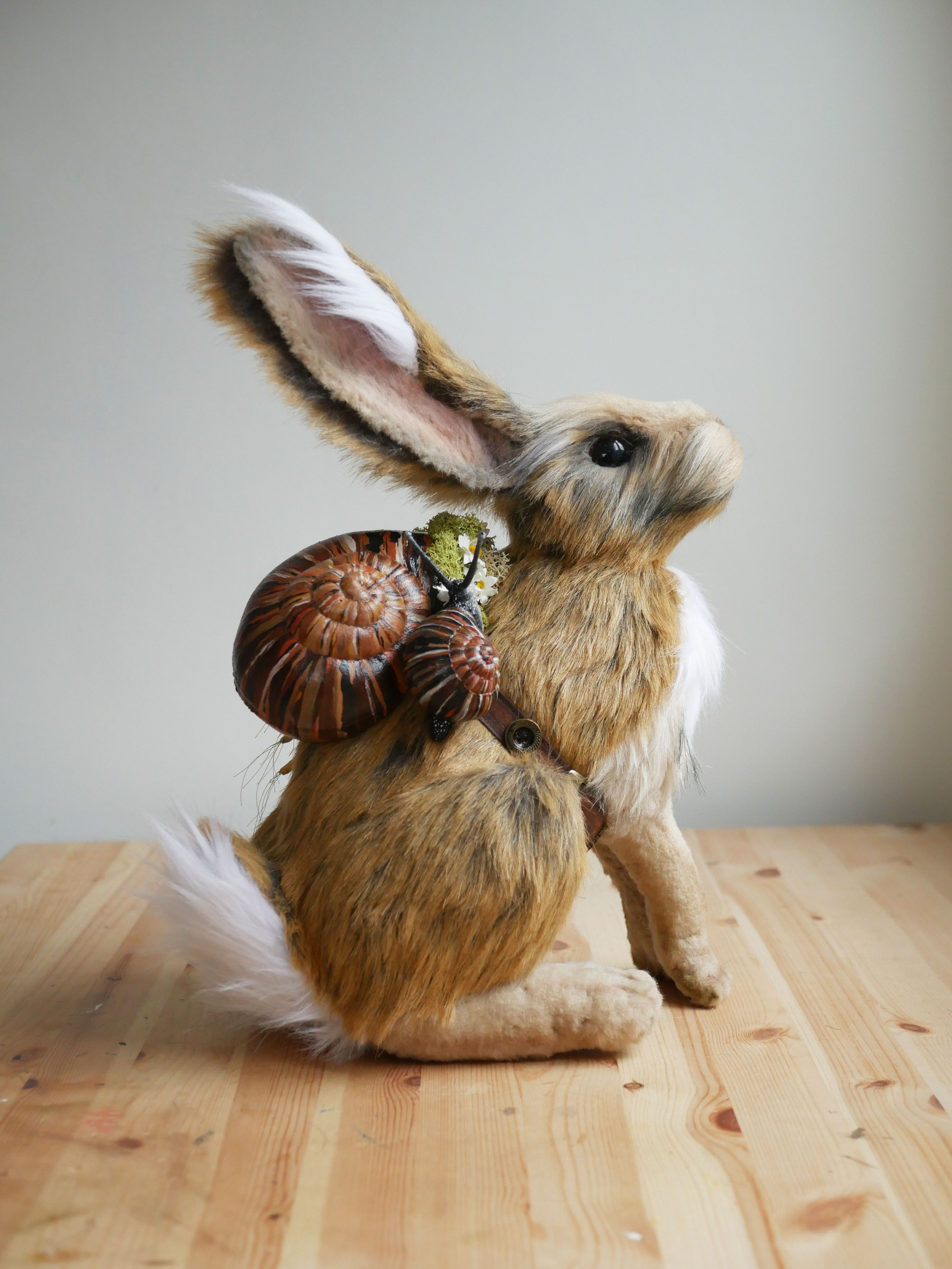 Forager of the forests hand made soft sculpture hare by