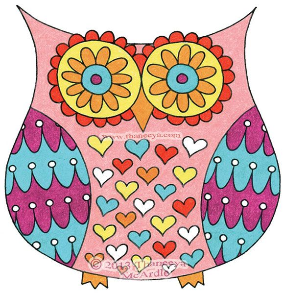 Colorful Funky Owl Drawing by Thaneeya | Owls | Pinterest ...