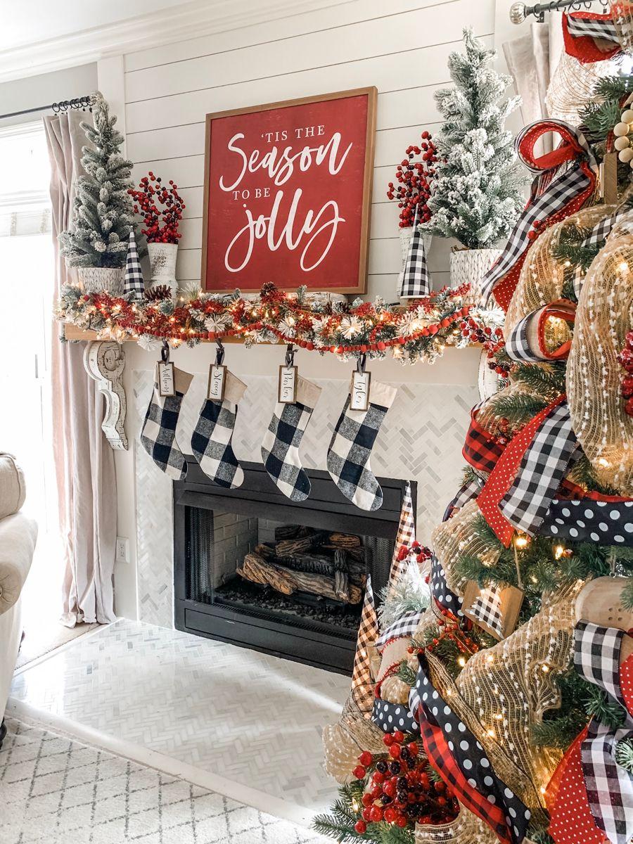 Christmas mantel decor using buffalo check!   Wilshire ...