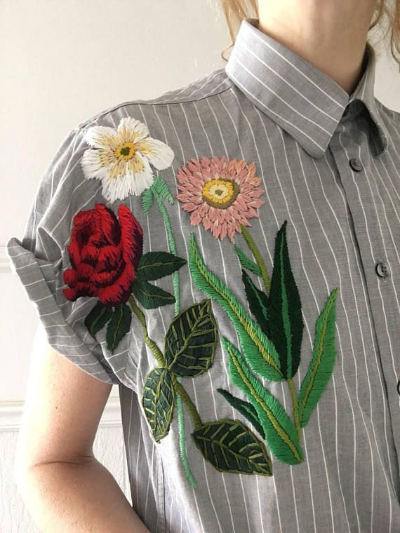 Grey buton-down with floral embroidery