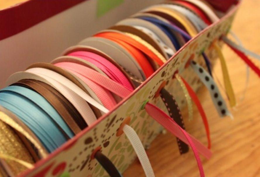Diy Ribbon Organizer Station Ribbon Storage Shoe Box Crafts