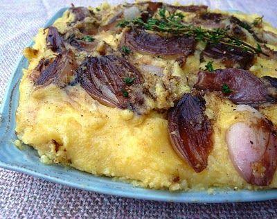 Radishes and Rhubarb: Balsamic Shallot and Polenta Cake