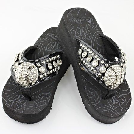 Womens Baseball rhinestone BLING flip flops *please read full description for colors in sizes available*