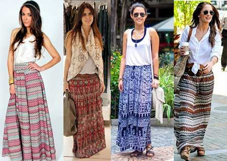 d77040afb modelos de saias Roupas Hippie Feminina