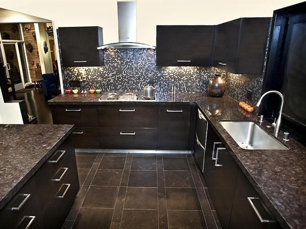 Dark Tile Flooring Inspiration Dark Tiles Kitchen  Google Search  For The Home  Pinterest Design Inspiration