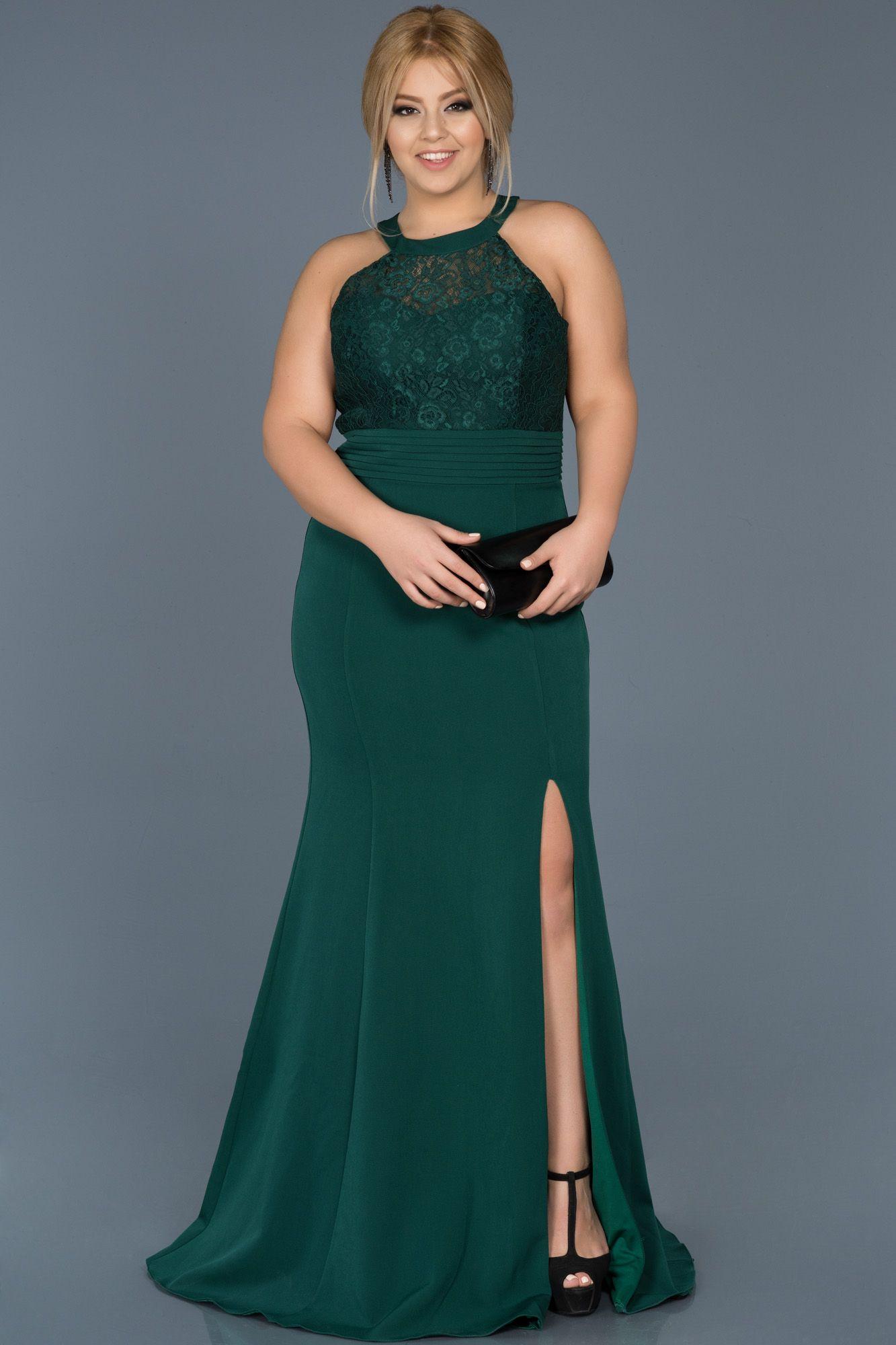 Zumrut Yesili Yirtmacli Buyuk Beden Abiye Abu473 Elbise Modelleri Elbise The Dress