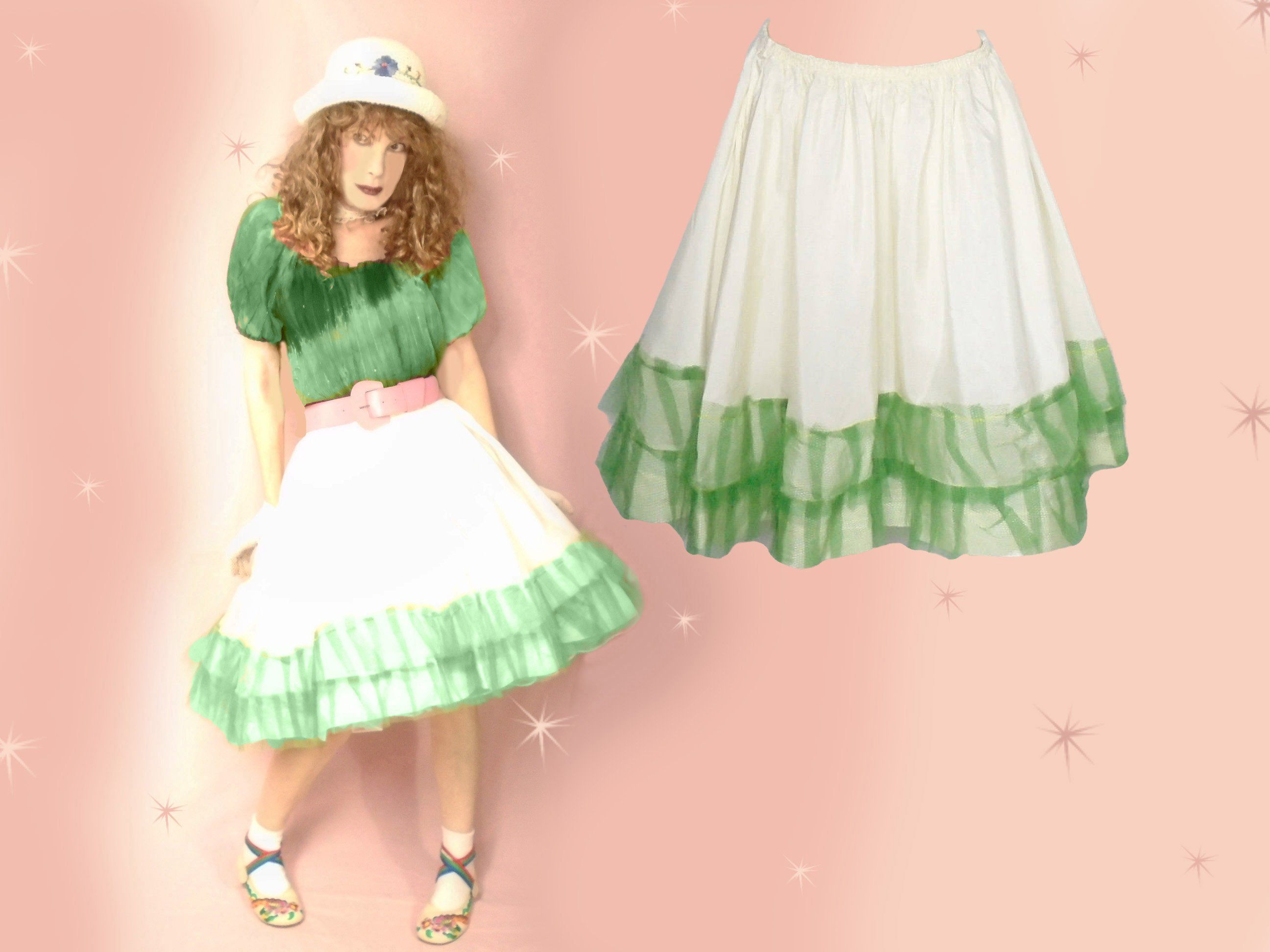 154083520a Vintage 50s Taffeta Circle Skirt Petticoat, Plus Size, One Size, Kawaii  Lolita Cosplay Full Skirts, Unique Eclectic Edgy Clothing by  LunaJunctionVintage on ...
