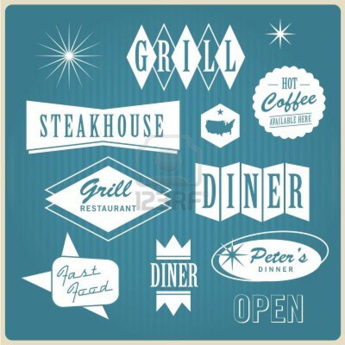 Vintage restaurant logo, badges and labels Stock Photo ...