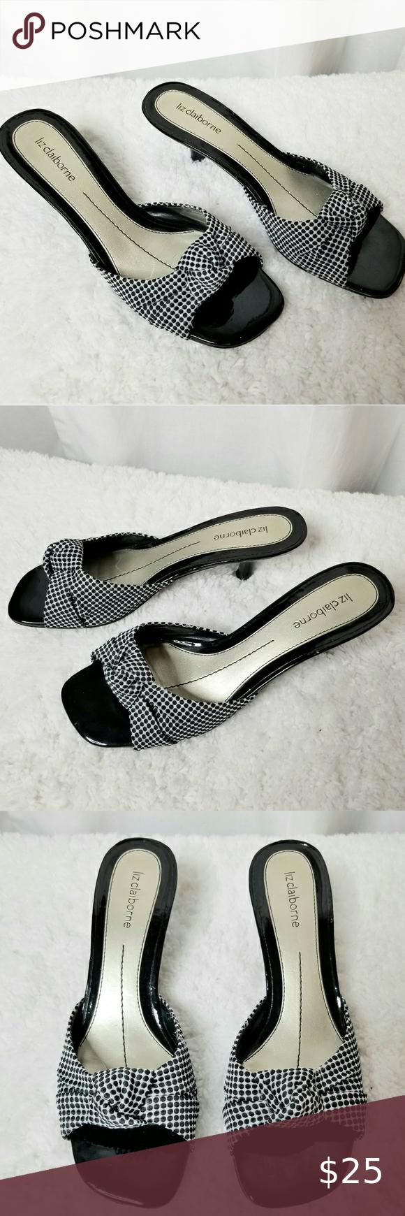 Liz Black White Kitten Heel Sandals Size 7m In 2020 Kitten Heel Sandals Sandals Heels Kitten Heel Shoes