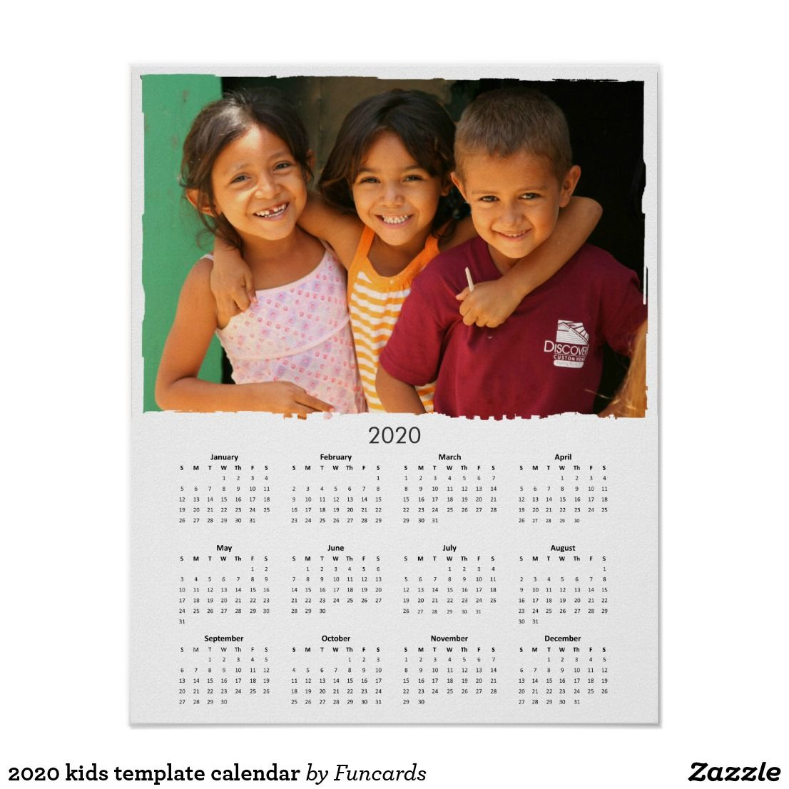 2020 kids template calendar poster | Zazzle.com