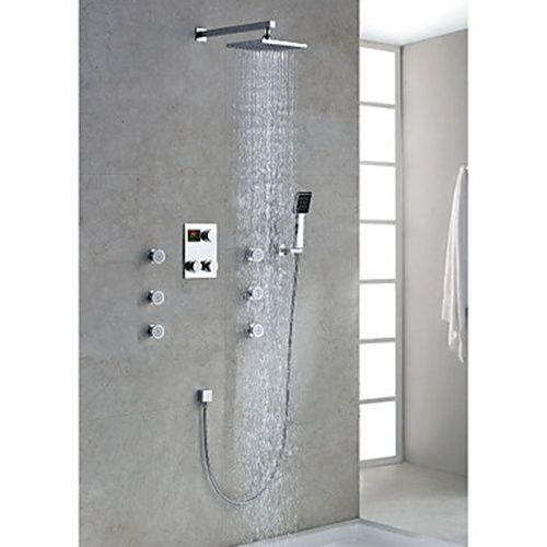 Chrome Finish Contemporary Thermostatic Led Digital Display Shower Faucet With 8 Inch Square Showe Contemporary Bathroom Faucets Shower Faucet Shower Fixtures