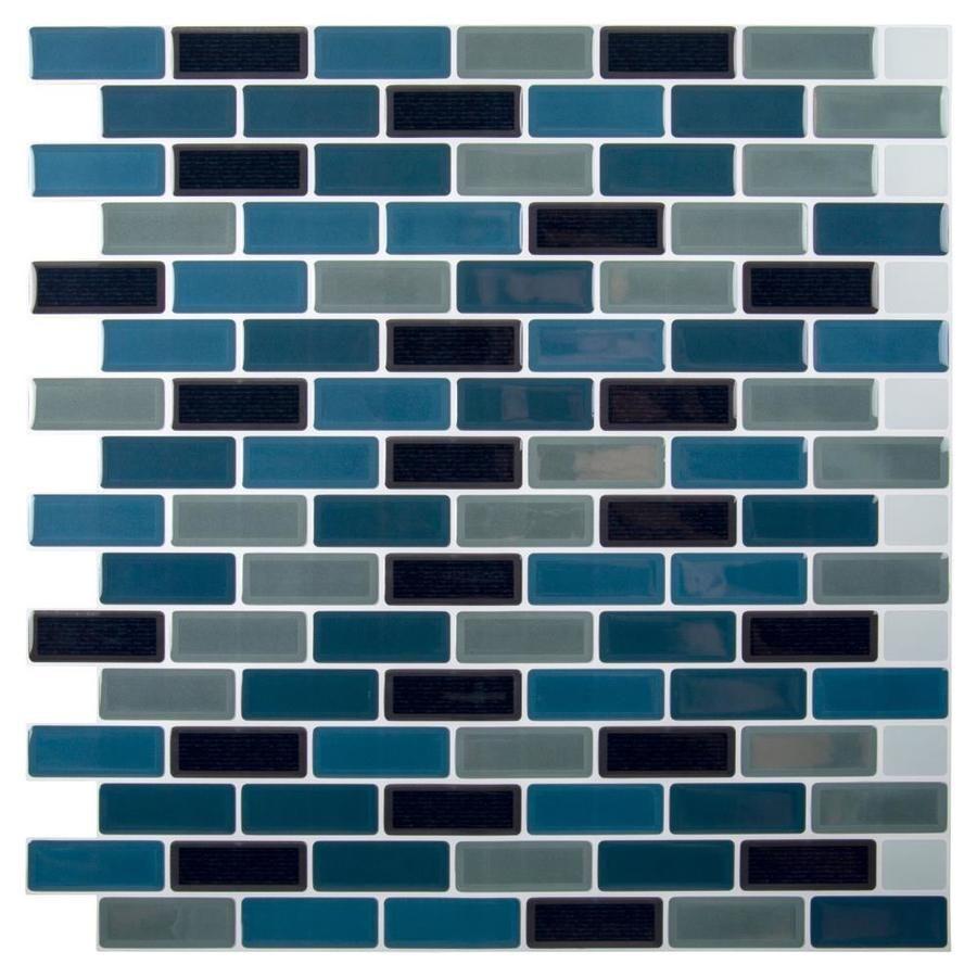 Truu Design Truu Design Self Adhesive Peel And Stick Mini Subway Wall Tiles 10 X 10 In Teal Grey Black 6 Lowes Com In 2021 Peel Stick Backsplash Subway Tile Stick On Tiles