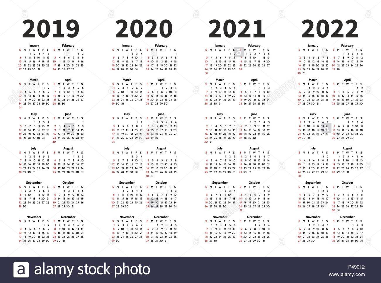 Calendar 2019, 2020, 2021 and 2022 year vector design