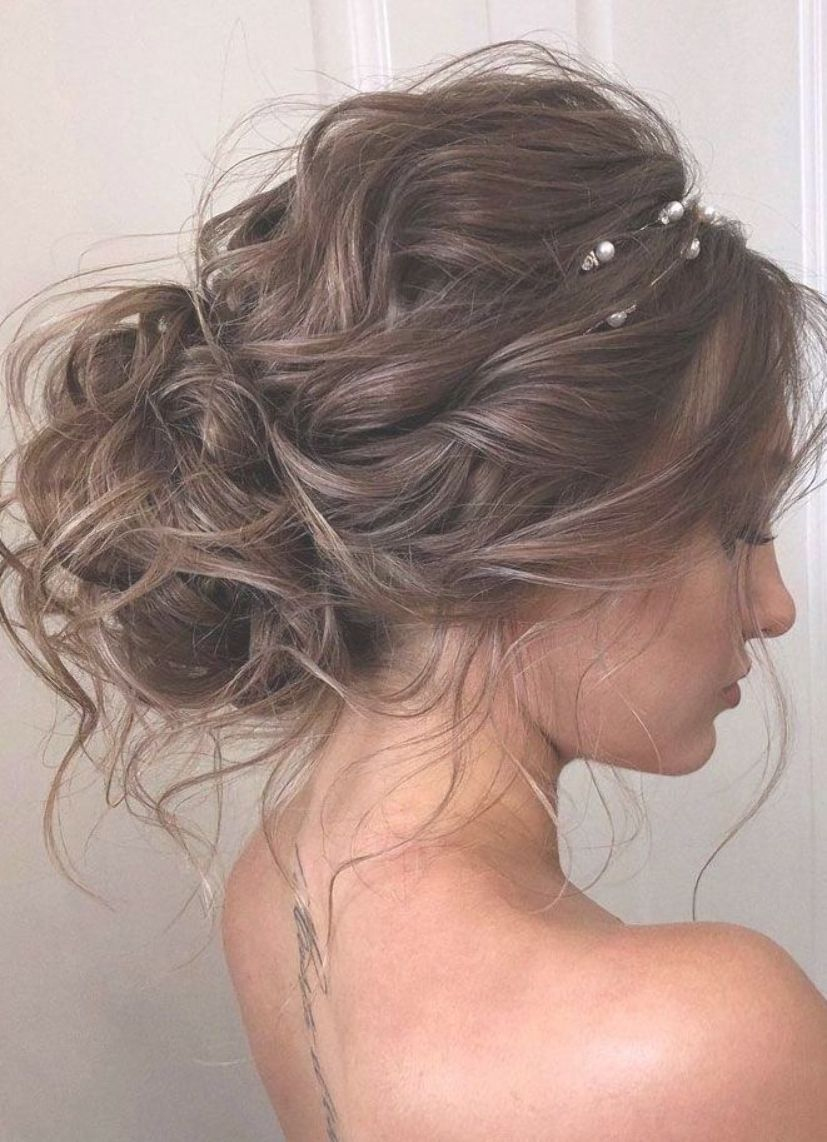 44 Romantic Messy Updo Hairstyles For Medium Length To Long Hair Messy Updo Hairstyle For Elegant Look H Messy Hair Updo Long Hair Styles Messy Wedding Hair