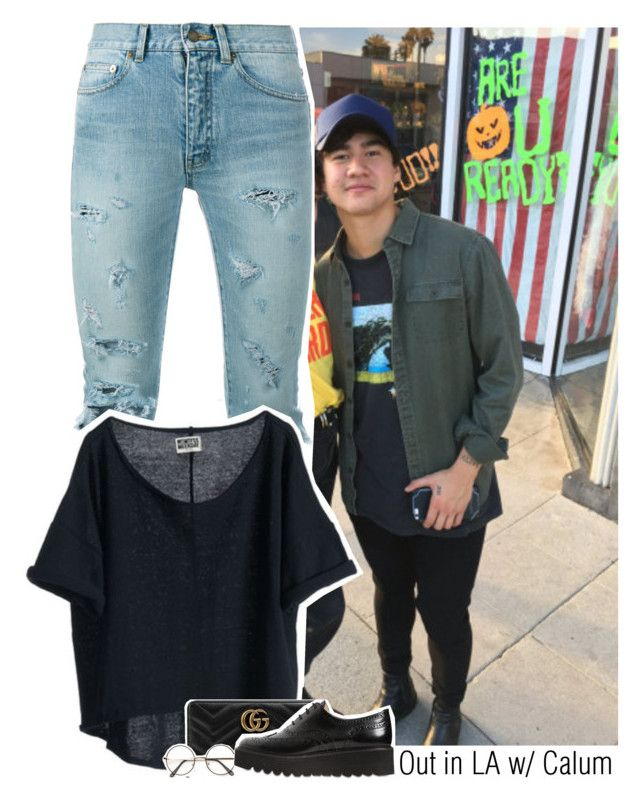 """Out in LA w/ Calum"" by amberamelia-123 ❤ liked on Polyvore featuring Yves Saint Laurent, Gucci and Paloma Barceló"