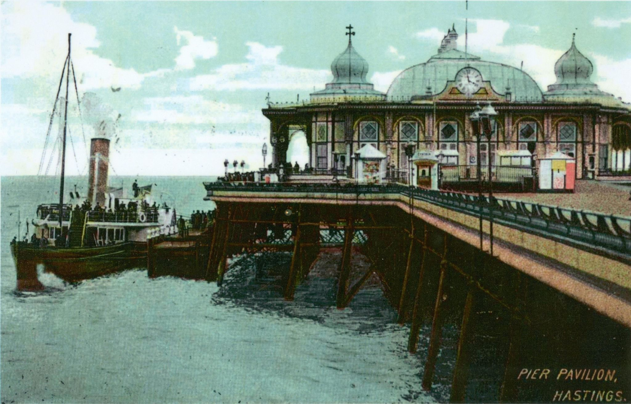H003635 Hastings Pier Pavilion And Paddle Steamer Pre 1910 Hastings Pier Pier Luxury Sailing Yachts