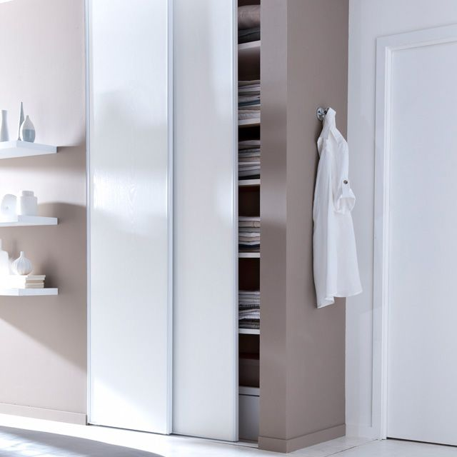 Pack de 2 portes de placard coulissantes blanc veiné 120 cm - rail porte de placard coulissante