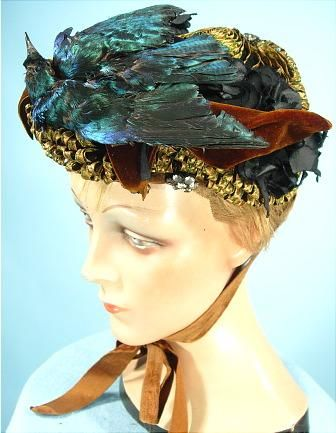 af5e51579d4 1894 RARE Fancy Bonnet of Green and Bronze Straw Trimmed with Rhinestone  Clusters and Iridescent Preserved Blue Starling Bird