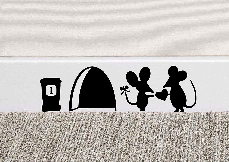 Mouse love heart wall art sticker vinyl decal mice home skirting