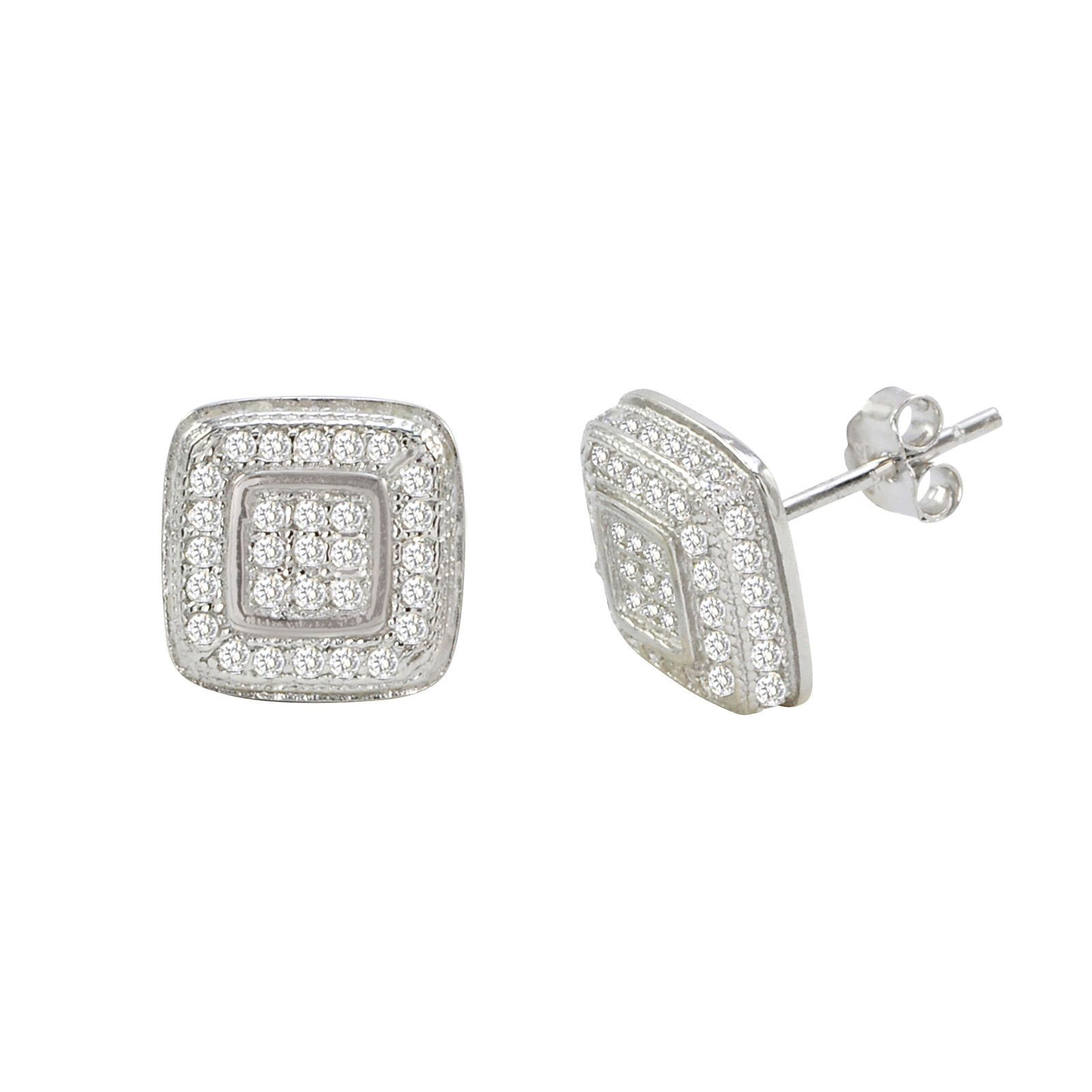 Sterling Silver Micropave Stud Earrings Square With Frame Cz Cubic Zirconia 10mm Stud Earrings Square Earrings Square Earrings Studs