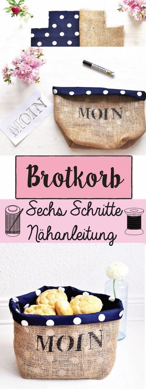 Brotkorb nähen - Anleitung von | gerade Linien, Brotkorb und Jute